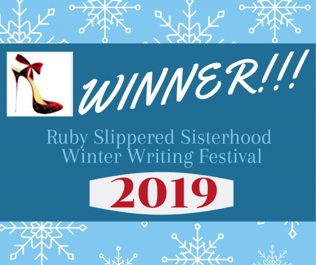 This is the badge for winning in the Ruby Slippered Sisterhood Winter Writing Festival, 2019