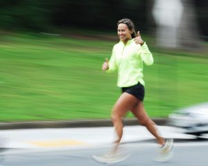 woman running alone